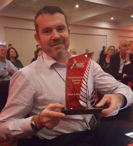 Ben Thornton holding the TECNZ award